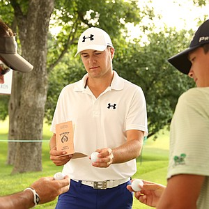 Rich Beem (from left), Jordan Spieth and Travis Woolf talk shop before their sectional qualifying rounds in Dallas for the 2013 U.S. Open at Merion.