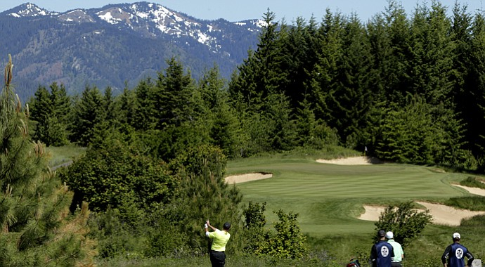 Casey Martin hits a tee shot during sectional qualifying at Tumble Creek in Cle Elum, Wash., for the 2013 U.S. Open at Merion.