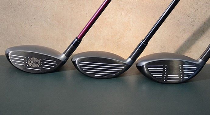 The Callaway X Hot fairway wood (left) and X Hot Pro (middle) are shorter from sole to crown than the X Hot Pro 3Deep.