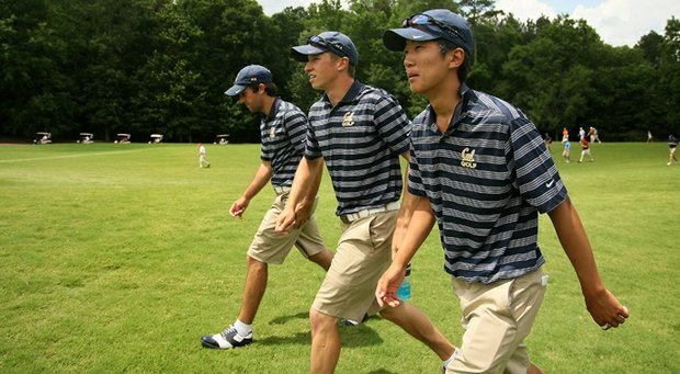 Cal's Brandon Hagy (middle) and Michael Kim (right) earned Golfweek All-America honors.