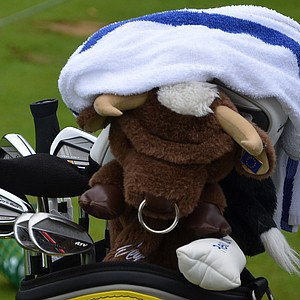 Sergio Garcia's TaylorMade RocketBladez Tour irons and bull headcover got wet in Monday morning's rain.
