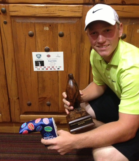 Brad Dalke at his locker after finishing fifth at the Thunderbird International Junior.