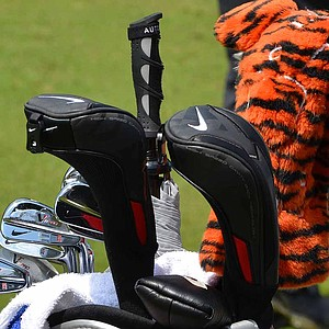 Tiger Woods' Nike VR Pro Blade irons gleam in Tuesday morning's Pennsylvania sunshine.