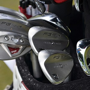 Padraig Harrington had two 50- and 54-degree Wilson FG Tour TC wedges in his bag Tuesday. The three-time major winner uses one of each loft during practice rounds while the others are saved for tournament play.