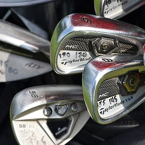 David Howell marks all of his TaylorMade Tour Preferred Forged MC irons with yardages that show how far the clubs will send the ball with various swings.