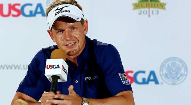 Luke Donald talks to the media during a press conference on Tuesday before the start of the 113th U.S. Open at Merion Golf Club.