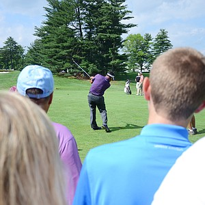 K.J. Choi hits from the 15th fairway on Tuesday at Merion.