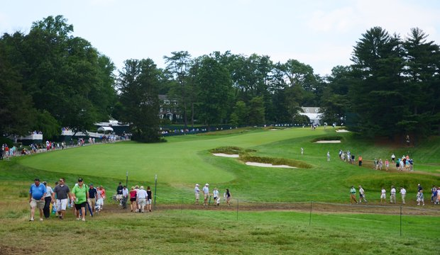 A view of the 15th hole at Merion from the side of the tee box.