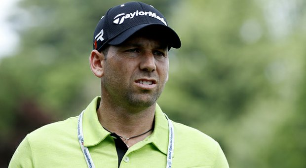 Sergio Garcia looks on during a practice round prior to the start of the 113th U.S. Open at Merion Golf Club.