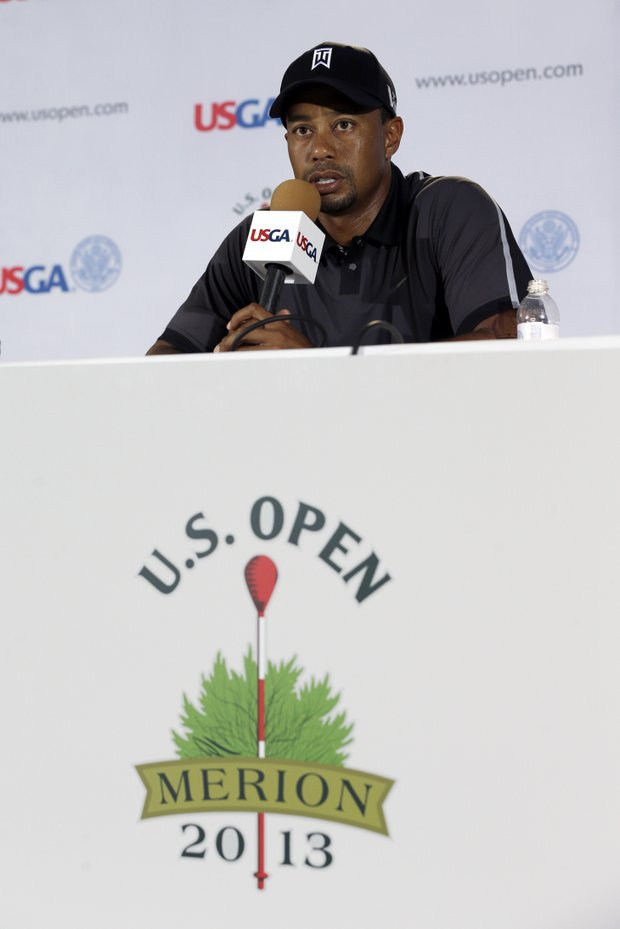 Tiger Woods speaks to the media as the sun came out for U.S. Open practice Tuesday at Merion GC in Ardmore, Pa.