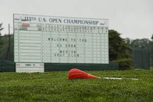 Merion Golf Club's red wicker-basket pins already have become a standout among the sights during practice for the 2013 U.S. Open.