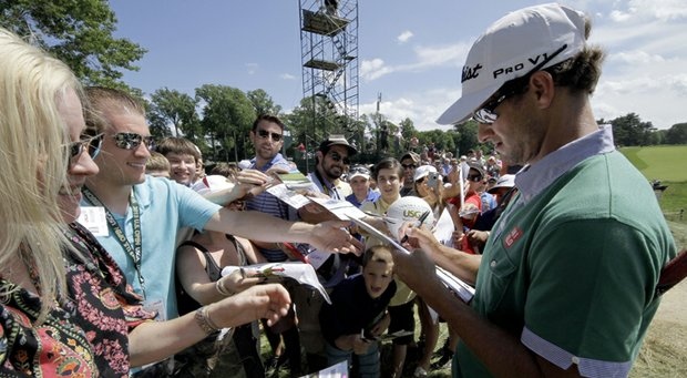 Adam Scott during practice for the 2013 U.S. Open at Merion Golf Club in Ardmore, Pa.