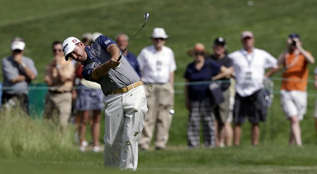 Graeme McDowell during a Wednesday practice round for the 2013 U.S. Open at Merion Golf Club in Ardmore, Pa.