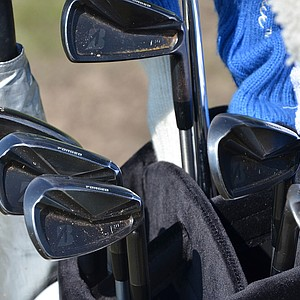 Matt Kuchar's Bridgestone J40 Cavity Back irons have a dark, nearly black finish.
