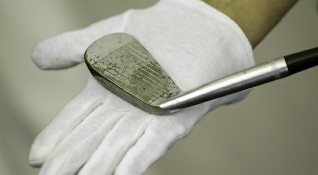 Ben Hogan's famed 1-iron is shown at Merion Golf Club.