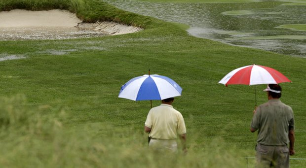 It looks as though the umbrellas will need to be brought back out at Merion on Thursday.