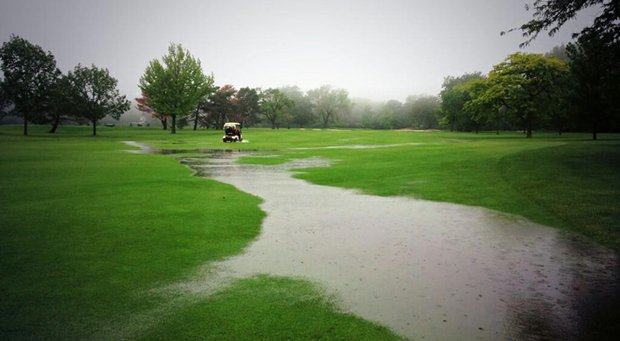 The 8th fairway at Niagara Falls CC in Lewiston, N.Y., during a weather delay in the 2013 Women's Porter Cup.