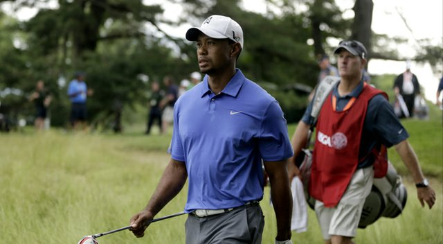 Tiger Woods during the first round of the 2013 U.S. Open at Merion Golf Club.
