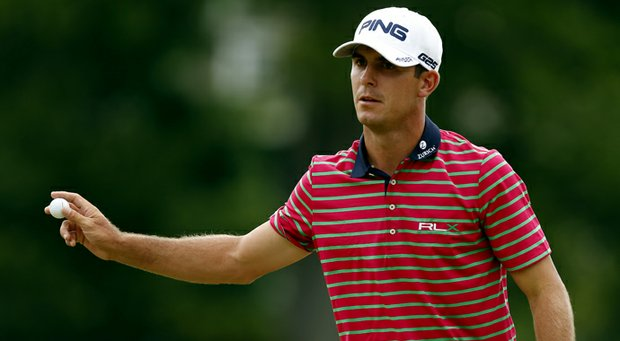 Billy Horschel acknowledges the crowd after a birdie putt on No. 18 to close out a 3-under 67 at the U.S. Open.