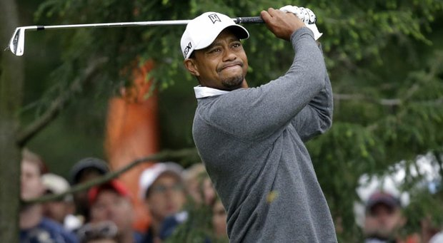 Tiger Woods during the completion of his first round Friday at the U.S. Open at Merion.