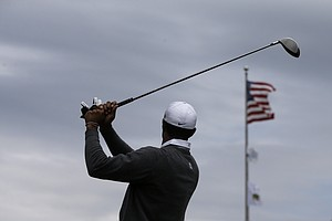Tiger Woods during the second round of the 2013 U.S. Open at Merion Golf Club.