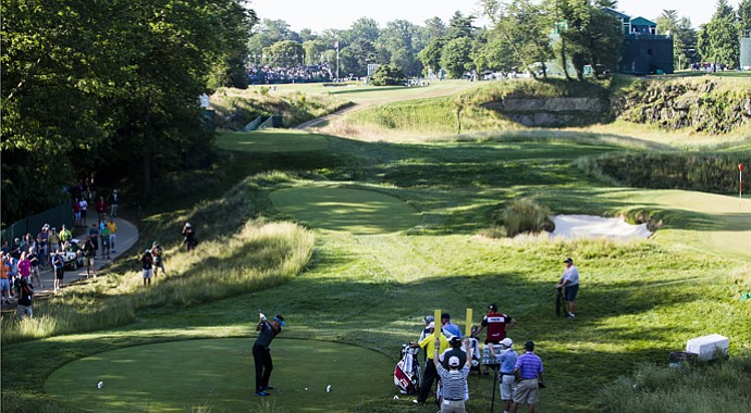 The 18th hole at Merion Golf Club.