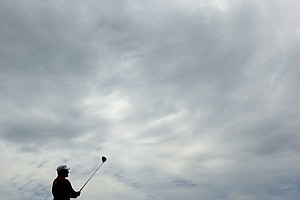 Lee Westwood tees off on the fourth hole during the fourth round of the U.S. Open.
