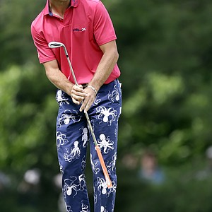 Billy Horschel watches a putt on the second green during the fourth round of the U.S. Open.