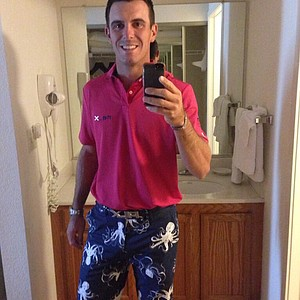 In this picture from Billy Horschel's Twitter account, he shows off his buzzworthy octopus pants. Yes, he wore them in the final round of the U.S. Open on Sunday at Merion.