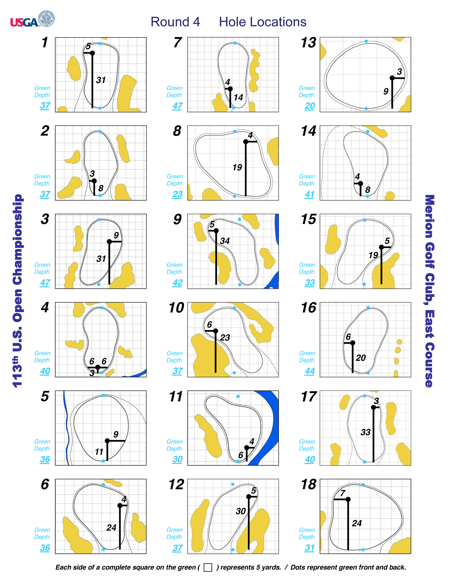 The fourth-round hole locations for the U.S. Open at Merion.