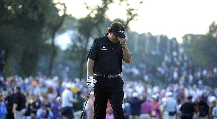 Phil Mickelson during the final round of the 2013 U.S. Open at Merion Golf Club.