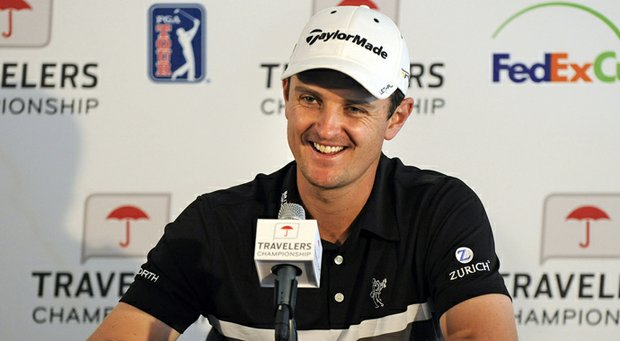 Justin Rose during a press conference at the Travelers Championship.