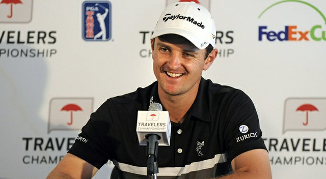 Justin Rose during practice for the PGA Tour's 2013 Travelers Championship.