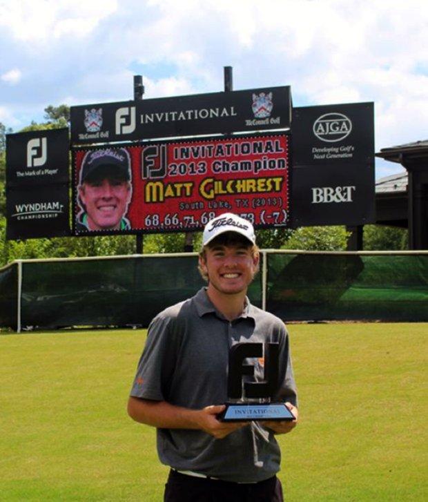 Matt Gilchrest after winning the 2013 AJGA FootJoy Invitational.
