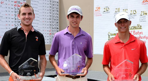Runner-up Kevin Dougherty (from left), champion J.T. Poston and Max McGreevy took the top three spots at the 2013 Southwestern Amateur.