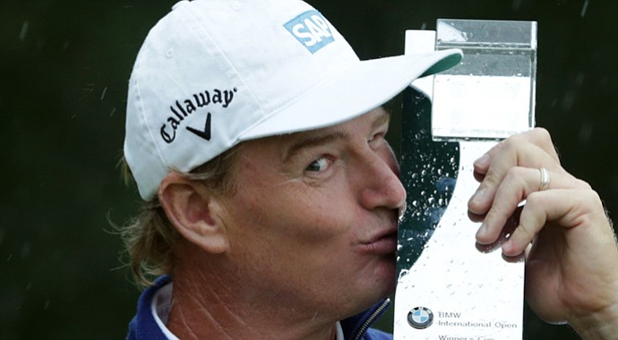 Ernie Els after his 2013 BMW International Open win on the European Tour.