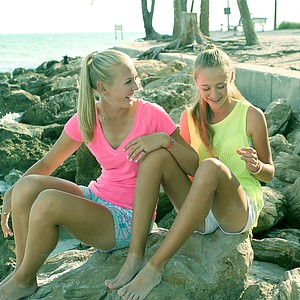 Jessica and Nelly Korda at Coquina Beach in Bradenton Beach, Fla. The Korda sisters are playing in the 2013 U. S. Women's Open this week.