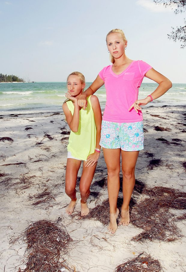 Jessica and Nelly Korda at Coquina Beach in Bradenton Beach. The Korda sisters goof around during a photo shoot.