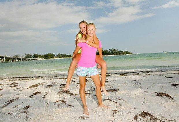 Jessica and Nelly Korda at Coquina Beach in Bradenton Beach. Jessica is playing in her 6th Women's U. S. Open and her sister, Nelly will be inside the ropes with her for the first time.
