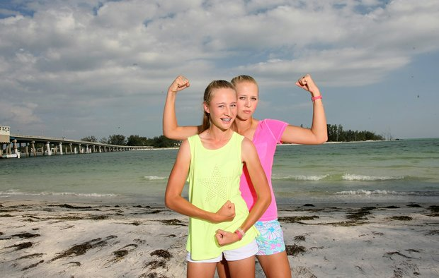 Jessica and Nelly Korda at Coquina Beach in Bradenton Beach. The sisters are playing in the 2013 U. S. Women's Open.