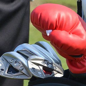 Pat Perez has boxing gloves over his woods and Jolly Rogers struck to his TaylorMade TP w/xFT wedges.