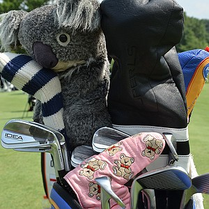 A koala bear covers Aaron Baddeley's driver, and his putter is covered by a pink headcover adorned with teddy bears.
