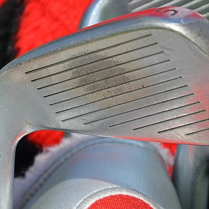 The wear pattern on Chad Campbell's Adams 5-iron reflects his ball-striking proficiency.