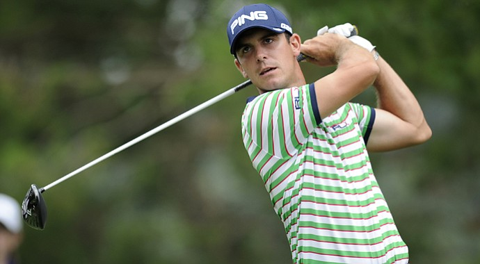Billy Horschel tees off on the 16th tee during the first round of the AT&T National at Congressional.