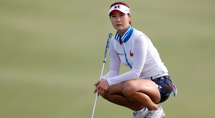 Ha-Neul Kim from South Korea looks on from the second green during the first round of the 2013 U.S. Women's Open at Sebonack Golf Club.