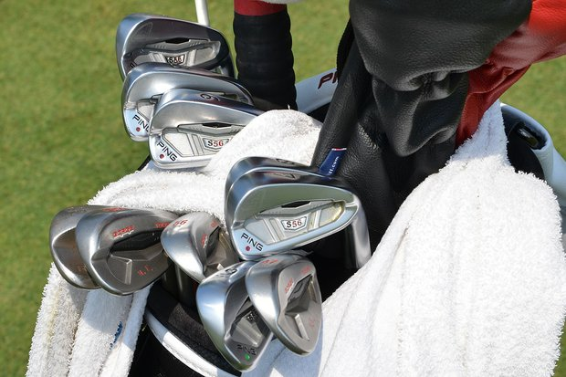 Harris English's Ping S56 irons gleam under the hot sun in Washington, D.C.