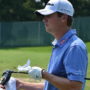 Sean O'Hair's caddie used a marker so O'Hair could see exactly where he was making contact on the face of his new TaylorMade R1 Black driver.