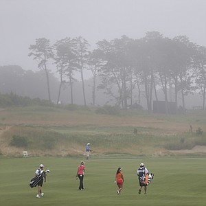 Fog builds at Sebonack Golf Club during the second round of the 2013 U.S. Women's Open in Southampton, N.Y.