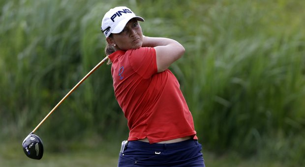 Angela Stanford during the first round of the 2013 U.S. Women's Open at Sebonack Golf Club.