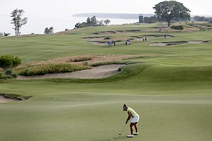 Mariajo Uribe during the first round of the 2013 U.S. Women's Open at Sebonack in Southampton, N.Y.